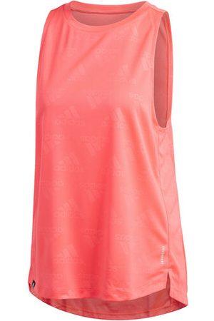 adidas Damen Tanktops - Tanktop, Rundhalsausschnitt, atmungsaktiv, für Damen, koralle, L