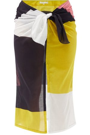 Cala De La Cruz Heather Colour-block Cotton-voile Sarong