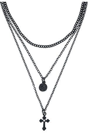 Gothicana Damen Halsketten - Matt Black Cross Halskette
