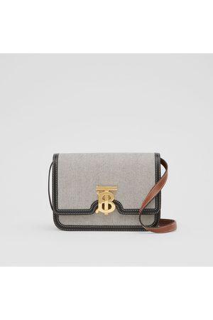 Burberry Kleine TB Bag in Dreitonoptik aus Canvas und Leder, Black