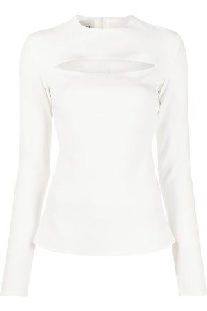 A.W.A.K.E. MODE Damen Tops & T-Shirts - Oberteil mit Ärmelschlitzen