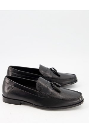 Moss Bros Moss London – Loafer in mit Quasten in Echsen-Optik