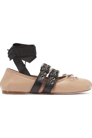 Miu Miu Buckled Leather Ballet Flats