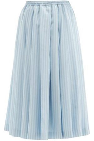 Zanini Reversible Pleated & Striped Silk Midi Skirt
