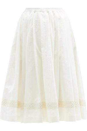 Zanini Embroidered-stripe Cotton-blend Midi Skirt