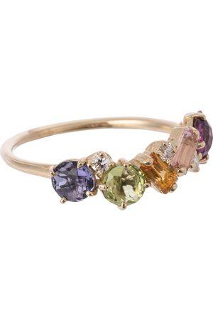 Suzanne Kalan Ring Rainbow aus 14kt Gelbgold mit Saphiren und Diamanten