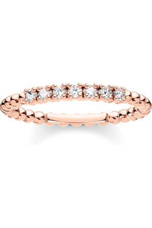 Thomas Sabo Damen Ringe - Ring Kugeln mit weißen Steinen roségold
