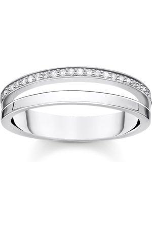 Thomas Sabo Ring doppel weiße Steine silber