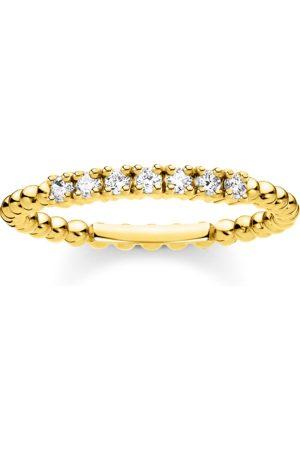 Thomas Sabo Ring Kugeln mit weißen Steinen gold