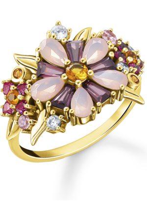 Thomas Sabo Ring Blumen farbige Steine gold