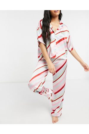 ASOS – Mix and Match – Pyjamahemd aus Satin mit Streifen in Bonbonfarben