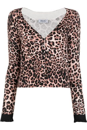 Liu Jo Damen Strickpullover - Cardigan mit Leoparden-Muster