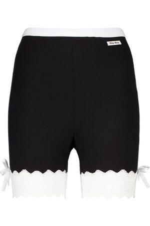 Miu Miu Damen Shorts - Shorts aus Jersey mit Spitze