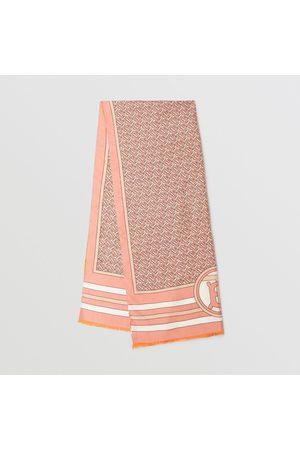 Burberry Damen Schals - Wendbarer Seidenschal mit Monogrammmuster, Pink