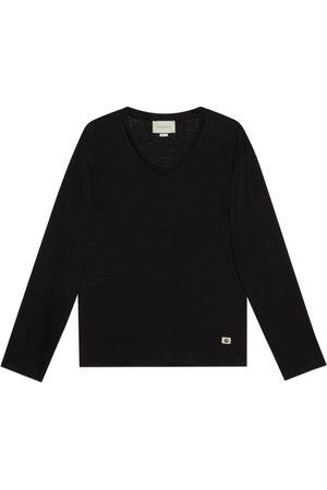 Gucci T-Shirt aus Leinen mit V-Ausschnitt und Doppel G
