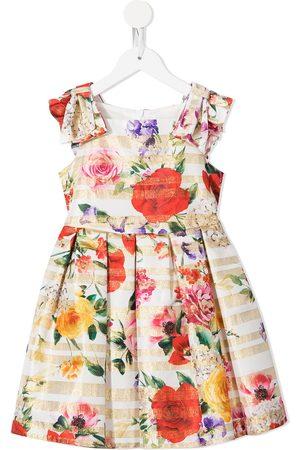 David Charles Gestreiftes Kleid mit Blumen-Print