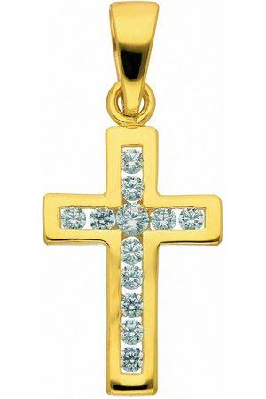 Adelia's Kette ohne Anhänger »585 Kreuz Anhänger mit Zirkonia - Set mit Halskette«, Goldschmuck für Damen & Herren