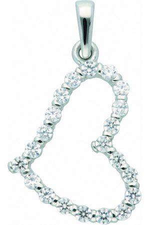 Adelia's Damen Halsketten - Kette mit Anhänger »333 Weiß Anhänger Herz mit Zirkonia - Set mit Halskette«, 333 Goldschmuck für Damen
