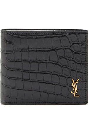 Saint Laurent Ysl-plaque Crocodile-effect Leather Bi-fold Wallet