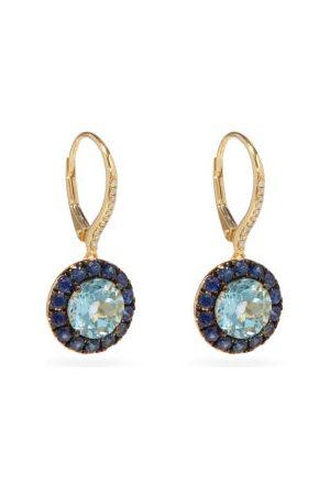 Rosa De La Cruz Damen Ohrringe - Diamond, Blue Topaz, Sapphire & 18kt Earrings