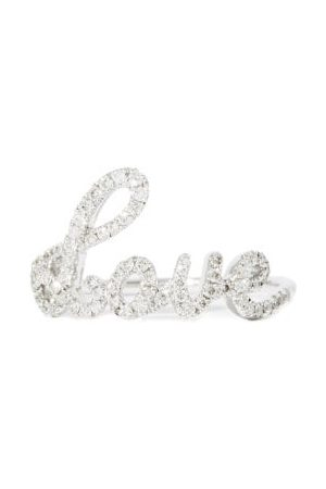 Rosa De La Cruz Love Text Diamond & 18kt White- Ring