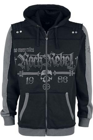 Rock Rebel Schwarze Kapuzenjacke mit Rock Rebel und Skull-Prints Kapuzenjacke