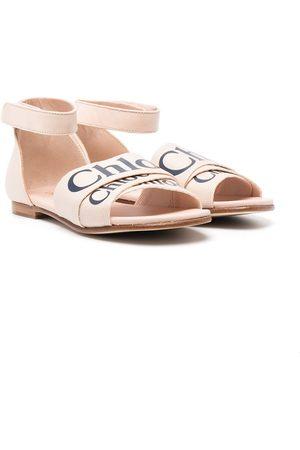 Chloé Mädchen Sandalen - Flache Sandalen mit Logo-Riemen