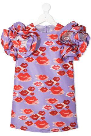 Elisabetta Franchi La Mia Bambina Mädchen Bedruckte Kleider - Rüschenkleid mit Lippen-Print