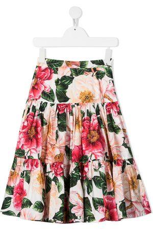 Dolce & Gabbana Kids Stufenrock mit Blumen-Print