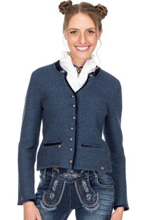 SPIETH & WENSKY Damen Trachtenjacken - Trachten Strickjacke MALTA jeansblau