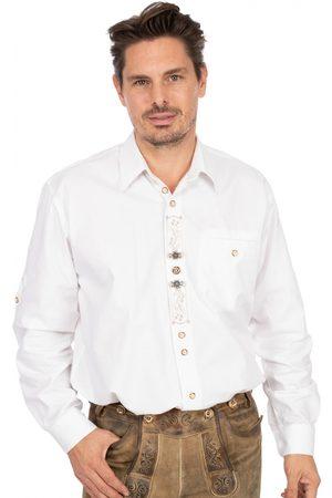 OS-TRACHTEN Herren Trachtenhemden - Trachtenhemd BENNO Sticklegende Krempelarm weiss