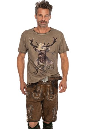 Stockerpoint Herren Lederhosen - Lederhose kurz mit Gürtel THOMAS-2 stein