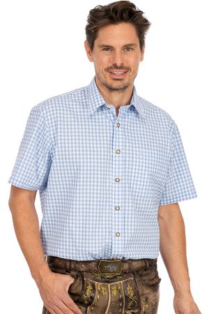 OS-TRACHTEN Herren Trachtenhemden - Karo Kurzarmhemd ALZACH hellblau