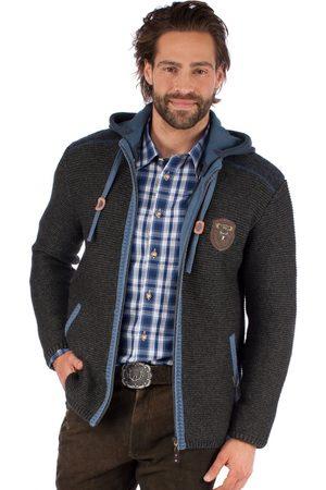 SPIETH & WENSKY Herren Trachtenjacken - Trachten Strickjacke DAKAR Hoodie dunkel grau blau