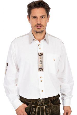 OS-TRACHTEN Herren Trachtenhemden - Trachtenhemd BEN urig Krempelarm weiss-natur