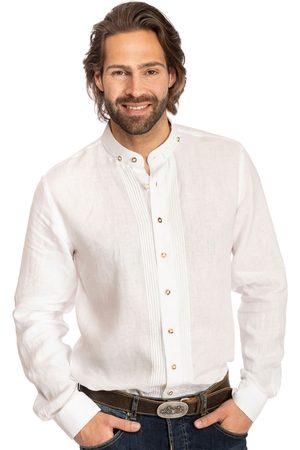 Almsach Herren Trachtenhemden - Hemd Stehkragen 175LI weiss