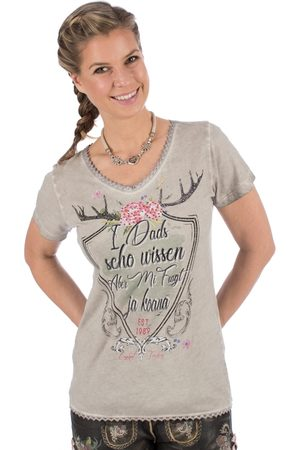 MARJO Damen T-Shirts, Polos & Longsleeves - Trachten T-Shirt D48 - MANU taupe