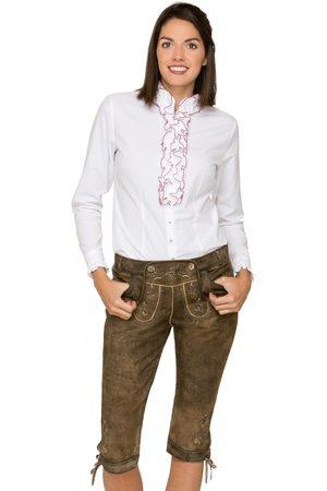 Stockerpoint Damen Lederhosen - Trachtenlederhose kniebund SUZAN stein geäscht