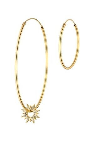 LEAF Ohrringe Set Creole Sparkling Sun and Basic Creole Yellow Gold gelbgold