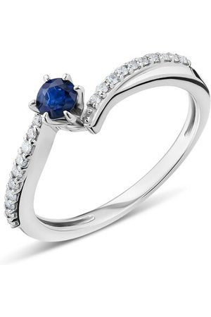 DIAMADA Ring 18KT Diamond and Sapphire Ring White Gold blau