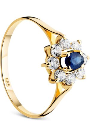 DIAMADA Ring 14KT Ring Sapphire With Cubic Zirconia Yellow Gold gelbgold