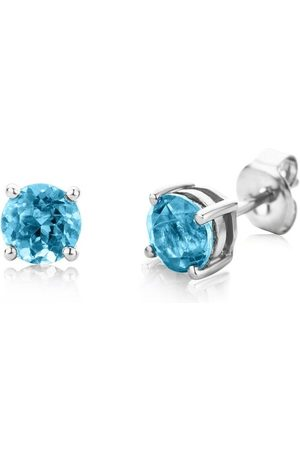 DIAMADA Ohrringe 14KT Blue Topaz Earring White Gold weißgold