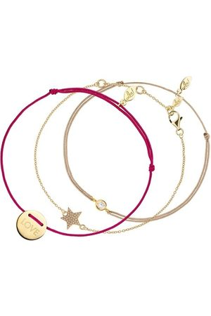LEAF Armband Set Bracelet Star with Zirconia Pure and Love Yellow Gold bunt