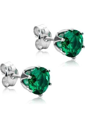 DIAMADA Ohrringe 9KT Created Emerald Earring White Gold weißgold