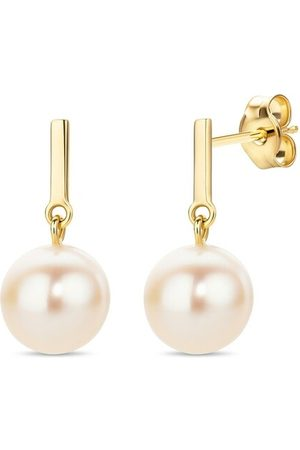 DIAMADA Damen Uhren - Ohrringe 14KT (585) Pearl Earrings Yellow Gold gelbgold