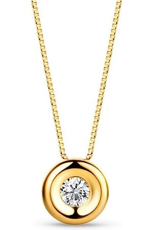 DIAMADA Halskette 0.05ct Diamond Solitaire Necklace 18KT Yellow Gold gelbgold