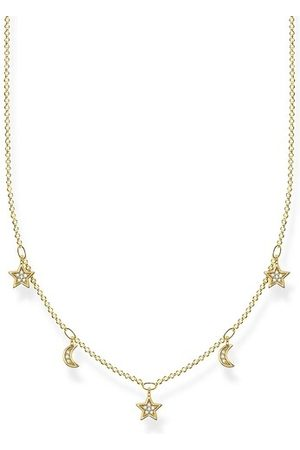 Thomas Sabo Halskette Necklace Moon & Stars Pearl White gelbgold