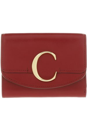 Chloé Portemonnaie Small Trifold Wallet Shiny Calfskin Smoked Red rot