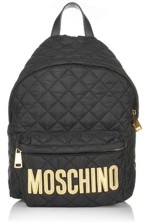 Moschino Rucksack Quilted Textile Backpack Black Gold
