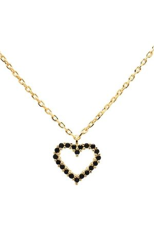PDPAOLA Damen Halsketten - Halskette Necklace Heart Black/Yellow Gold schwarz